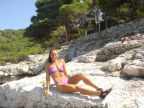 Sitting on the rock on Vis, Croatia...