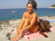 Suzy with Zeus, Vis, Croatia